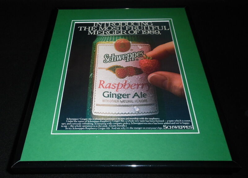1989 Schweppes Raspberry Ginger Ale 11x14 Framed ORIGINAL Vintage Advertisement