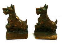 Art Deco Scottish Terrier Dog Bookends Cast Iron Bronze Finish