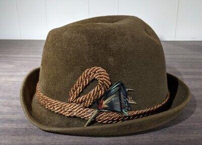 1950s Mens Hats | 50s Vintage Men's Hats Vintage 1950s Summit Brown Fur Felt w/ Feathers Fedora Hat Size 7 $29.95 AT vintagedancer.com