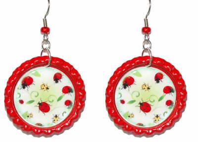 Bright Red Ladybug Flattened Bottle Cap Dangle Earrings (CAP009a)