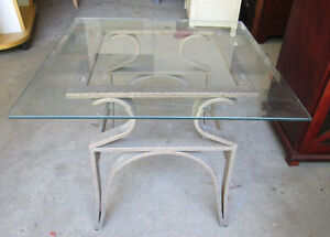 Moving-Small beveled glass-topped table on aluminum. Super nice