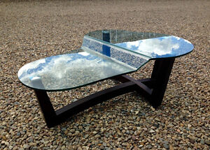 modern molded  glass topped coffee  table