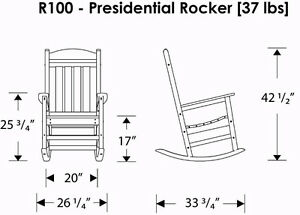 POLY-WOOD R100GY Presidential Rocker, Slate Grey Cambridge Kitchener Area image 6