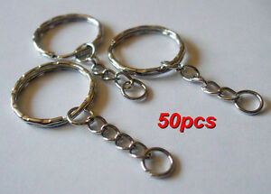 50pcs Keyring Blanks 55mm Silver Tone Key chains Key Split Rings 4 Link Chain