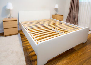 Queen bed, Askvoll Ikea, frame + bed base