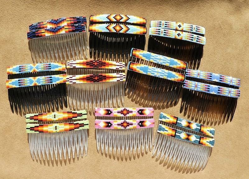 Native American Navajo Multicolor Handmade Beaded Hair Comb Set of 2 Pretty!
