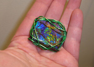 ammolite fossil stone wire wrapped