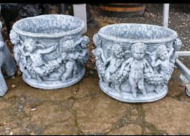 Concrete flower pot planters
