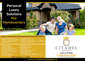 Personal Loans For Home Owners In KW Area 2500-30k