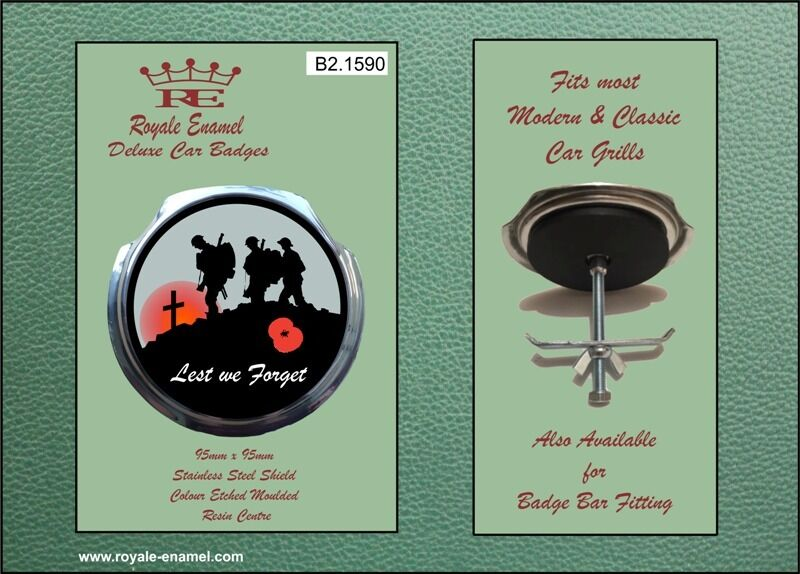 Royale Car Badge Bar Badge B1.1590 BATTLEFIELD LEST WE FORGET POPPY
