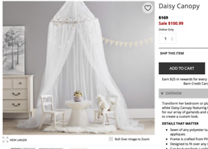 Pottery Barn Kids Tulle Canopy for girl's bed - $45