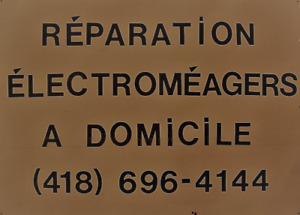 RÉPARATION  ET VENTE D'APPAREILS ÉLECTROMÉNAGERS