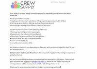 Crew Supply is currently seeking contract employees