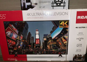 """55"""" RCA 4K ULTRA HD TV WITH 4 HDMI PORTS BRAND NEW."""
