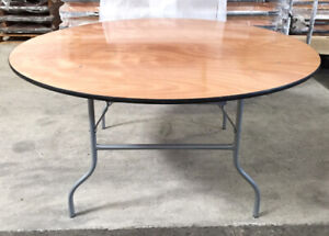 """Commercial Wooden Round Folding Table 72"""" - Brand New - For Sale"""