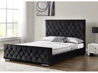Crushed Velvet Fabric Chesterfield bed frame- single- double- king size, in all colours.
