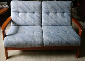 Mid century modern teak sofa/loveseat/ 2 person couch