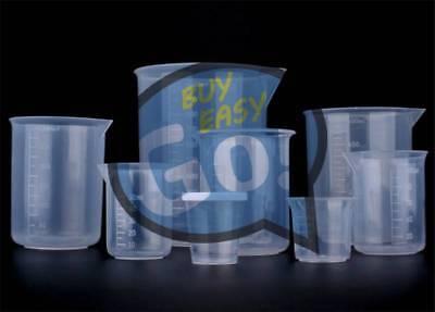 5pcs Plastic Beaker Set 50 100 150 250 500 Lab Kitchen Measuring Cup Durable New