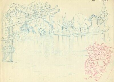Disney Lady and the Tramp Original Production layout/background Drawing
