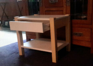 Child's solid wooden bed & matching side table