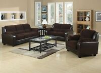 SOFA & LOVE SEAT IN BROWN MICROFIBER & LEATHER LOOK FOR ONLY 799
