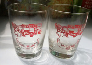2 Antique Maple Lane Diary Glasses, excellent clear graphics