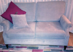 Pair of soft gray love seats