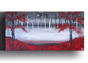 Red Black and White canvas painting wall Art Acrylics