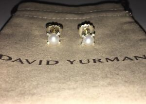 David Yurman Sterling Silver 6mm Pearl & Diamond Stud Earrings