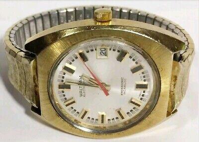 Men Waltham Watch Electrodyne Swissonic 9154 Gold Tone Stretch Steel Band Vintag