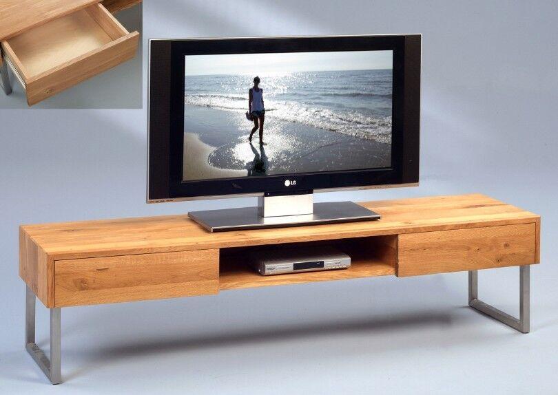 TV BANK FERNSEHTISCH LOWBOARD - WILDEICHE MASSIV - EDELSTAHL GESTELL - 160 x 40