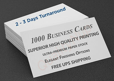 1000 Full Color Business Cards - High Quality + Free Elegant Finishing Options