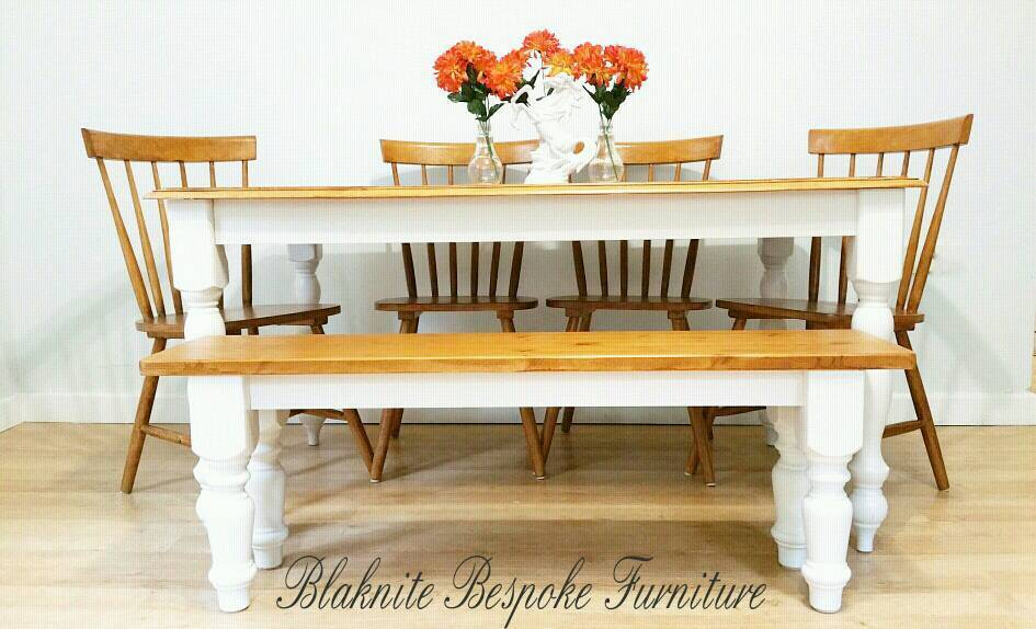 Lovely pine farmhouse dining table and chairs and bench