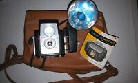 Vintage 60s Kodak Brownie Starflex Camera with Flash w/ Case