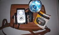Vintage 60s Kodak Brownie Starflex Camera with Flash w/ Case