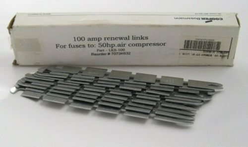 Box of 10 COOPER BUSSMANN LKS-100 Fuse Links - 100 Amp Renewal Link - 10 Pieces