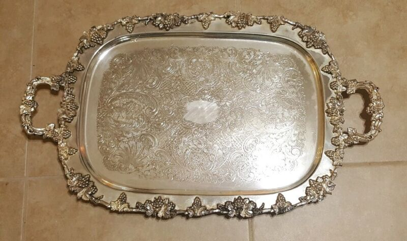"""Vtg Silverplate BSC ENGLAND Serving Tray DoubleHandle Footed Birmingham 29x17.5"""""""