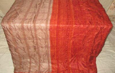 Pure silk Antique Vintage Sari EXOTIC 4Y S18 318 Coffee Rust UK #ABGNN