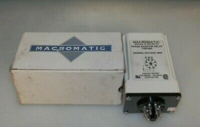 New Macromatic Pmp480 Phase Monitor Relay 10a 240 Vac 12 Hp 8 Pin