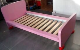 Pink/Red IKEA girl's junior bed. Vgc! Collection only. Smoke+pet free home
