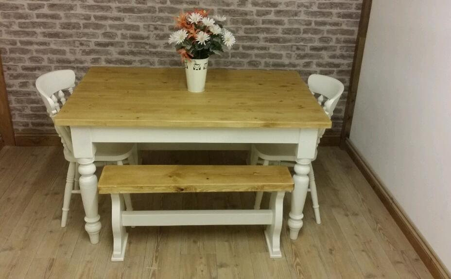 gorgeous 6 seater solid pine farmhouse dining table and chairs and