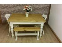 Gorgeous 6 seater solid pine farmhouse dining table and chairs and benches painted shabby chic