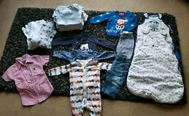 Boys bundle clothes 3-6 months. Includes 2 sleep bags.