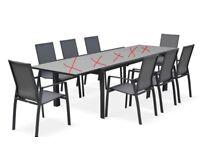 Washington: 8 Dark Grey Textilene Chairs