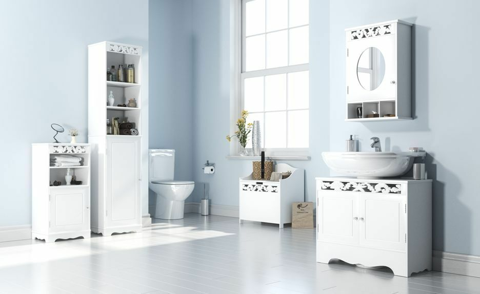 Details About White Bathroom Set Utility Cabinet Under Basin Mirror Tall Shelf Laundry Chest