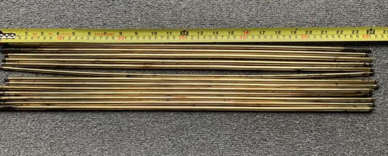 "Antique Victorian Heavy Brass Stair Rods 24"" X 3/8"" (17 Rods)"