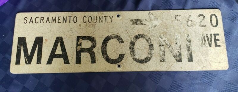 Vintage Street Sign Metal -》 5620 Marconi Ave.  Sacramento County
