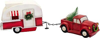 Retro Red Truck with Tree & Camper Christmas Display New Headlights Light Up