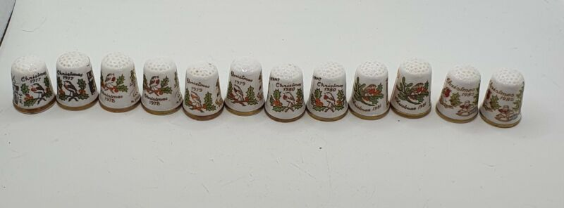 Collection Of Caverswall Thimbles, Christmas 1977-1982 lot of 12