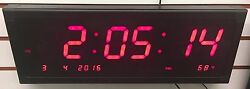 LARGE CALENDAR MULTI-ALARM LED CLOCK W/ SECONDS FOR DESK OR WALL W/ REMOTE